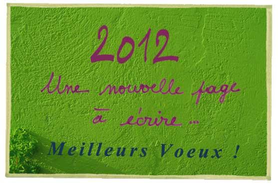 2012 Une nouvelle page à écrire... Meilleurs voeux