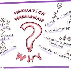 note visuelle :innovation managériale réponse aux nouveaux enjeux des organisations. Transformation des organisations, facilitation graphique