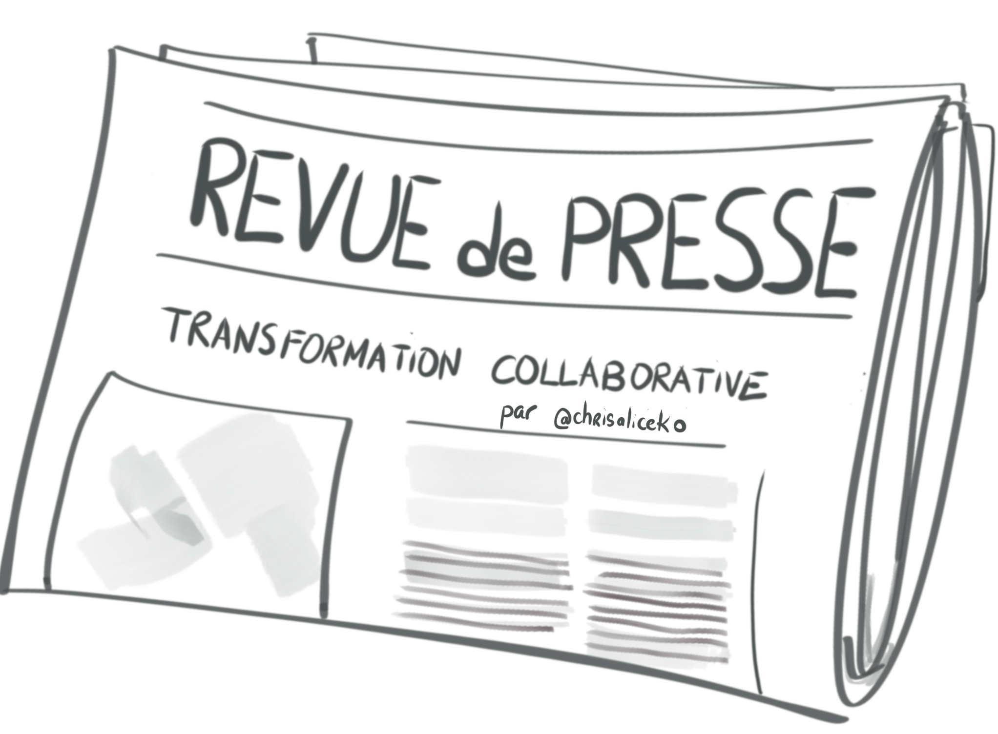 Revue de presse de la transformation collaborative sketchnote